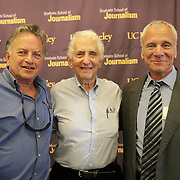 Investigative Reporting Program Director, Lowell Bergman, Whistleblower Daniel Ellsberg and UC Berkeley Graduate School of Journalism Dean, Ed Wasserman pose together during the first week orientation for incoming students at North Gate Hall in Berkeley, California, on Wednesday, August 27, 2014. Ellsberg, who is most famous for his role in the Pentagon Papers ordeal, interacted with students about such topics as freedom of the press, whistleblowers Eric Snowden and Chelsea Manning, and the responsibilities and ethical morals of reporters and other members of the media. (AP Photo/Alex Menendez)