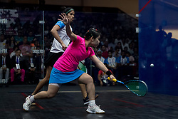 JAKARTA, Sept. 1, 2018  Au Wing Chi Annie (Front) of China's Hong Kong competes against Joshana Chinappa of India during the Squash Women's Team Gold Medal Match at the 18th Asian Games in Jakarta, Indonesia, Sept. 1, 2018. (Credit Image: © Zhu Wei/Xinhua via ZUMA Wire)