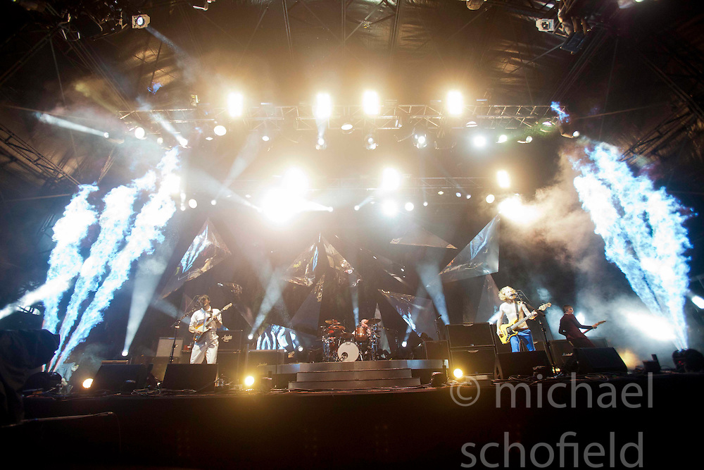 Biffy Clyro headline Sunday night on the main stage..Sunday at Rockness 2012..©Michael Schofield..