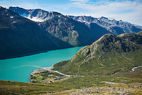 Memurubu DNT mountain hut on shore of lake Gjende, Jotunheimen national park, Norway