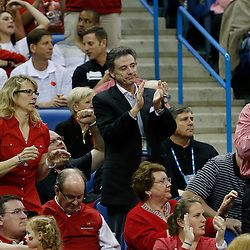 Apr 9, 2013; New Orleans, LA, USA; Louisville Cardinals men's basketball head coach Rick Pitino claps during the second half of the championship game in the 2013 NCAA womens Final Four against the Connecticut Huskies at the New Orleans Arena. Mandatory Credit: Derick E. Hingle-USA TODAY Sports