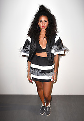 Vick Hope on the front row during the Fyodor Golan London Fashion Week SS18 show held at the BFC Show Space, London. Picture date: day month, 2017. Photo credit should read: Doug Peters/EMPICS Entertainment
