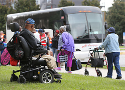 A handicapped elderly man waits to board a bus along with hundreds of other local residents being evacuated from the city at the Savannah Civic Center during a mandatory evacuation for Hurricane Irma on Saturday, September 9, 2017, in Savannah, Ga. Officials are expecting 1,500 to 3,000 without transportation to leave by buses that are being provided. Photo by Curtis Compton/Atlanta Journal-Constitution/TNS/ABACAPRESS.COM