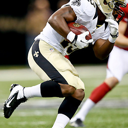 Sep 22, 2013; New Orleans, LA, USA; New Orleans Saints running back Darren Sproles (43) against the Arizona Cardinals during a game at Mercedes-Benz Superdome. The Saints defeated the Cardinals 31-7. Mandatory Credit: Derick E. Hingle-USA TODAY Sports