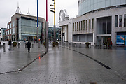 National coronavirus lockdown three begins at the Bull Ring Shopping Centre in Birmingham city centre, which is deserted apart from a few people on 6th January 2021 in Birmingham, United Kingdom. Following the recent surge in cases including the new variant of Covid-19, this nationwide lockdown, which is an effective Tier Five, came into operation today, with all citizens to follow the message to stay at home, protect the NHS and save lives.