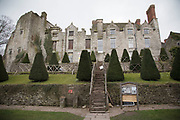 Hay Castle and Mansion in Hay-on-Wye or Y Gelli Gandryll in Welsh in Hay-on-Wye, Wales, United Kingdom. Known as the town of books, is a small town famous for its many second hand and specialist bookshops, although the number has declined sharply in recent years, many becoming general antique shops and similar.
