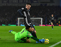 Football - 2019 / 2020 Premier League - Brighton & Hove Albion vs. Leicester City<br /> <br /> Leicester City's James Maddison battles for possession with Brighton & Hove Albion's Mat Ryan, at The Amex.<br /> <br /> COLORSPORT/ASHLEY WESTERN