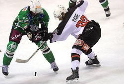 Frank Banham and Jean Philippe Pare at 39th Round of EBEL League ice hockey match between HDD Tilia Olimpija and Acroni Jesenice, on December 30, 2008, in Arena Tivoli, Ljubljana, Slovenia. Tilia Olimpija won 4:3.(Photo by Vid Ponikvar / SportIda).