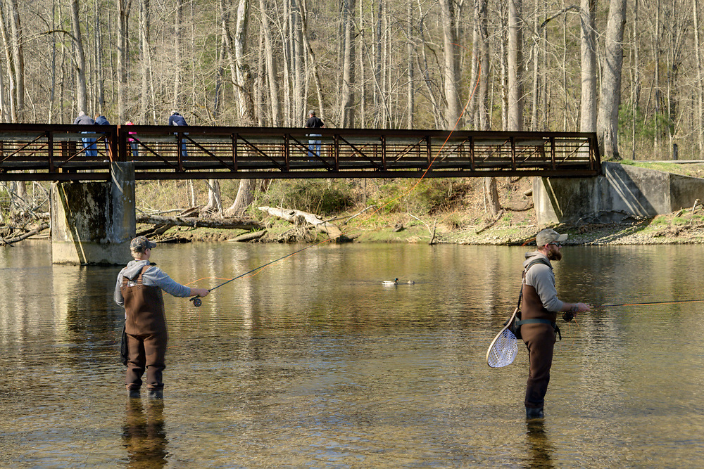 People enjoy fly fishing in the low waters of the South Fork of the Holston River at the Osceola Island & Weir Dam Recreation Area in Bristol, TN on Saturday, April 5, 2014. Copyright 2014 Jason Barnette