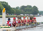Henley on Thames, England, United Kingdom,  Sunday,  23.06.19,   St Paul's School, Concord, New Hampshire, USA, at the Start, Semi Final of J 8+, Henley Women's Regatta, Henley Reach,  Karon PHILLIPS/Intersport Images,<br /> , <br /> 12:01:25