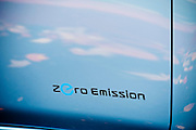 """The 100% electric Nissan LEAF touts """"zero emissions"""" on it's door."""