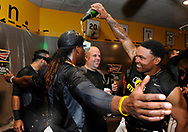 PITTSBURGH, PA - OCTOBER 1:  Marlon Byrd #2 of the Pittsburgh Pirates dumps champagne on Andrew McCutchen #22 during the National League Wild Card game against the Cincinnati Reds on Tuesday, October 1, 2013 at PNC Park in Pittsburgh, Pennsylvannia. (Photo by Joe Sargent/MLB Photos via Getty Images) *** Local Caption ***Marlon Byrd;Andrew McCutchen