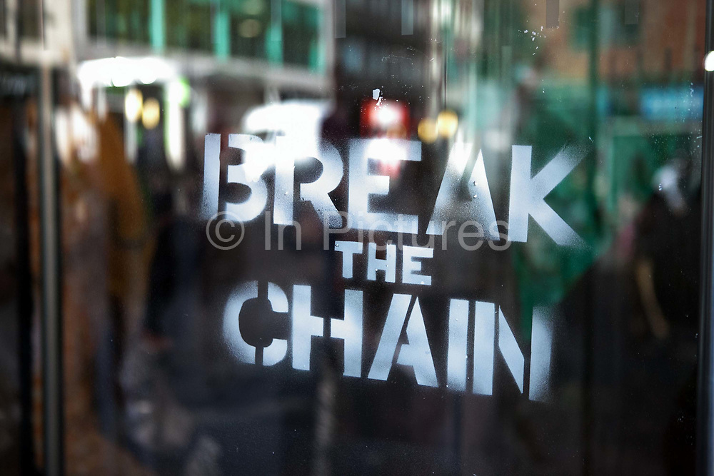 Around 40 activists dressed as animals invaded the PR firm Bell Pottinger My 11th, 2017, in central London, United Kingdom.  The activists want to ecxpose the companys ties with thefracking industry as part of a long running campaign against fracking by the activist group Reclaim the Power called Break the Chain. A stencil saying Break the Chain sprayed on the glass door. The spray is organic and easy to remove.<br /> The activist spend a short while in the lobby  with zebras throwing leaves, monkeys spreading animal manure and a squid spraying 'ink' on the windows before leaving peacefully.<br /> Bell Pottinger currently represent Centrica which is a major fracking investor in the UK according to the groups press release and the company has in the past helped the fracking company Quadrilla restore their reputation, also according to the press release.
