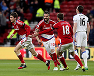 Marten de Roon of Middlesbrough celebrates scoring his teams first goal of the game during the English Premier League match at Riverside Stadium, Middlesbrough. Picture date: April 26th, 2017. Pic credit should read: Jamie Tyerman/Sportimage