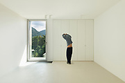 Architecture, new house interior,  room with a man inside