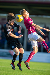 Clyde's Raymond Grant and Arbroath's David Gold. Arbroath 0 v 2 Clyde, Tunnocks Caramel Wafer Challenge Cup 4th Round, played 12/10/2019 at Arbroath's home ground, Gayfield Park.