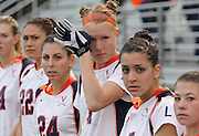 March 06, 2011 - Charlottesville, Virginia, USA -  Virginia women's lacrosse player Liz Downs wipes tears during an emotional ceremony permanently retiring the number one jersey worn by slain teammate Yeardley Love Sunday at Klockner Stadium. Love's body was found May 3, 2010 and Virginia men's lacrosse player George Huguely is charged with murder. (Credit Image: © Andrew Shurtleff)