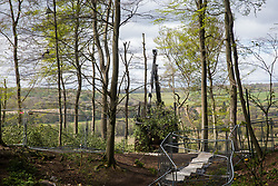 Wendover, UK. 4th May, 2021. Tree surgeons working on behalf of HS2 Ltd use heavy machinery to clear ancient woodland at Jones Hill Wood in the Chilterns AONB for the HS2 high-speed rail link. Felling of the woodland, which contains resting places and/or breeding sites for pipistrelle, barbastelle, noctule, brown long-eared and natterer's bats and is said to have inspired Roald Dahl's Fantastic Mr Fox, recommenced after a High Court judge refused an application for judicial review and lifted an injunction.