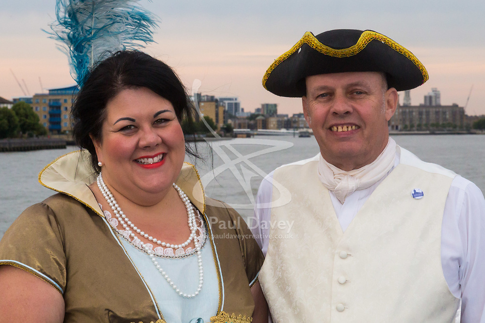 London, July 17th 2017. London Historians and Georgian Dining Academy celebrate the 300th anniversary of George Frederic Handel's masterpiece, The Water Music on the pleasure boat Golden Jubilee on the River Thames in London. PICTURED: Mayor of London's 'Night Tsar' Amy Lamé and London Historians founder Mike Paterson.