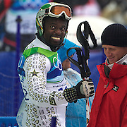 Winter Olympics, Vancouver, 2010.The Snow Leopard  Kwame Nkrumah-Acheampong, Ghana,  in action during the Alpine Skiing, Men's Slalom at Whistler Creekside, Whistler, during the Vancouver Winter Olympics. 27th February 2010. Photo Tim Clayton
