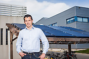 Portrait of Jerome Mouterde - Dual Sun's CEO - Franch hybryd solar panel producer - in front of their last installation - Marseille - France - 2013/04/10 - © Denis Dalmasso