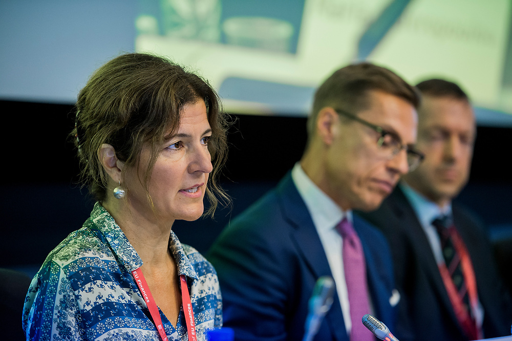"""Brussels, Belgium - 25 September 2017 <br /> """"The Future of Finances"""" conference.<br /> Maria Stavropoulou, Director of the Asylum Service of Greece<br /> Photo: European Commission / Ezequiel Scagnetti"""