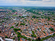Nederland, Utrecht, Amersfoort, 21–06-2020; overzicht van binnenstad Amersfoort met Onze Lieve Vrouwentoren (bijnaam Lange Jan).<br /> Overview of city center Amersfoort with the city ring. Above the streets the Onze Lieve Vrouwe tower.<br /> luchtfoto (toeslag op standaard tarieven);<br /> aerial photo (additional fee required)<br /> copyright © 2020 foto/photo Siebe Swart