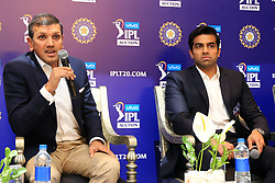 December 18, 2018 - Jaipur, Rajasthan, India - Rajasthan Royals lead owner Manoj Badale (L) and Delhi Capitals owner Parth Jindal (R) speak to the media at a press conference for the Indian Premier League 2019 auction in Jaipur on December 18, 2018, as teams prepare their player rosters ahead of the upcoming Twenty20 cricket tournament next year. The 2019 edition of the IPL -- one of the world's most-watched sporting events attracting the world's top stars -- is set to take place in April and May next year.(Photo By Vishal Bhatnagar/NurPhoto) (Credit Image: © Vishal Bhatnagar/NurPhoto via ZUMA Press)