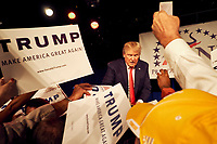 Donald Trump campaigning in Nashville in 2015.  Protestors outside demonstrated against his rhetoric towards Mexicans.