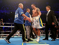 Oleksandr Usyk after victory against Tony Bellew after their WBC, WBA, IBF, WBO & Ring Magazine Cruiserweight World Championship bout at Manchester Arena.