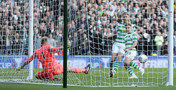 Celtic's James Forrest scores their second goal against Heart of Midlothian during the Betfred Cup semi final match at BT Murrayfield Stadium, Edinburgh.