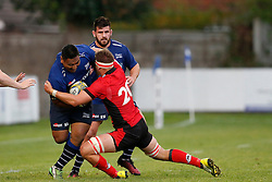 Halal 'Aulika of Sale Sharks is tackled - Mandatory by-line: Matt McNulty/JMP - 19 August 2016 - RUGBY - Heywood Road Stadium - Manchester, England - Sale Sharks v Edinburgh Rugby - Pre-Season Friendly