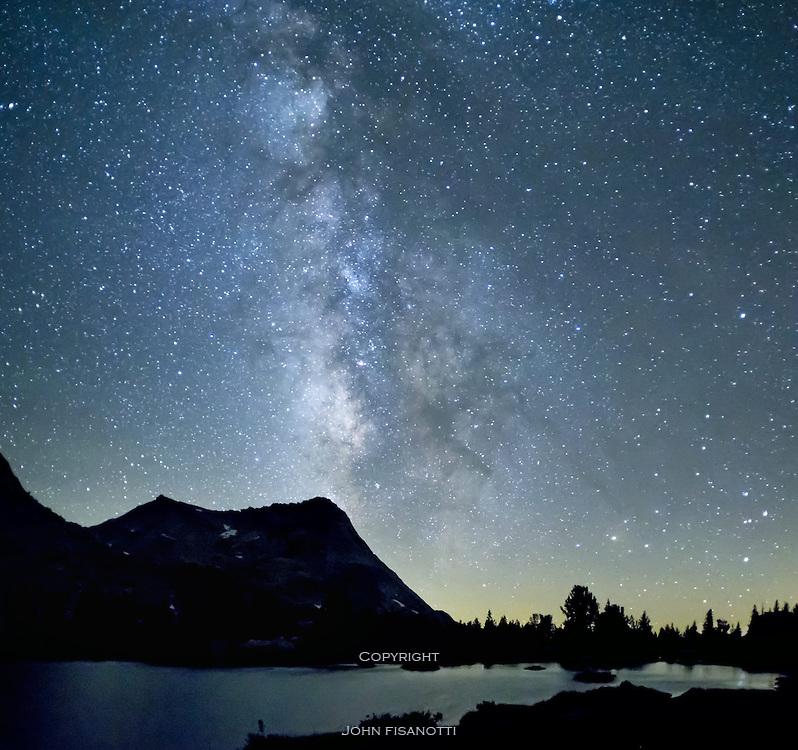 The Milky Way above Vogelsang Peak and Fletcher Lake, Yosemite National Park, California