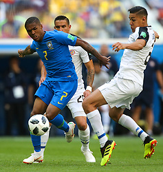 June 22, 2018 - Saint Petersburg, Russia - Douglas Costa (L) of the Brazil national football team and Oscar Duarte of the Costa Rica national football team vie for the ball during the 2018 FIFA World Cup match, first stage - Group E between Brazil and Costa Rica at Saint Petersburg Stadium on June 22, 2018 in St. Petersburg, Russia. (Credit Image: © Igor Russak/NurPhoto via ZUMA Press)