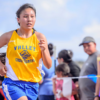 Valley Sanders Pirate runs to the finish in the girls varsity race during the Rehoboth Invitational cross country meet in Rehoboth Friday. James finished fourth with a time of 23:18.