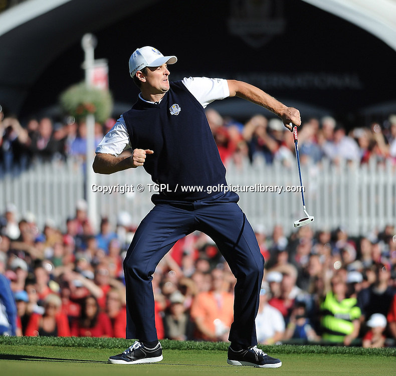 Justin ROSE (EUR) wins his match at 18th during final day Singles,Ryder Cup Matches,Medinah CC,<br /> Medinah,Illinois,USA.
