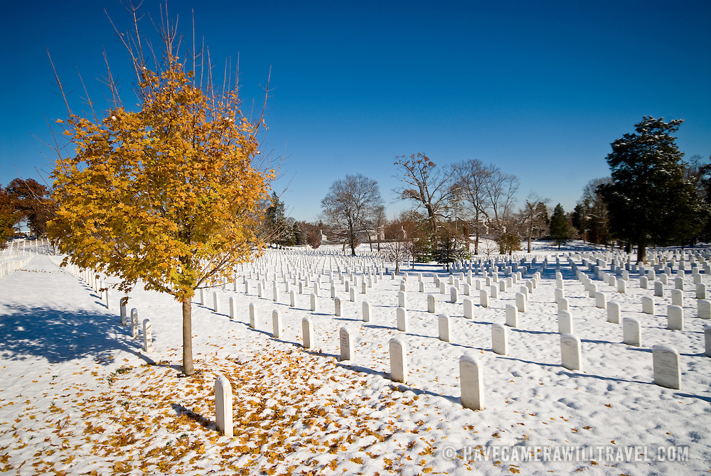 A snow-covered Arlington National Cemetery