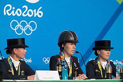 Pressconference, Werth Isabell, Dujardin Charlotte, Bröring-Sprehe Kristina<br /> Olympic Games Rio 2016<br /> © Hippo Foto - Dirk Caremans<br /> 15/08/16