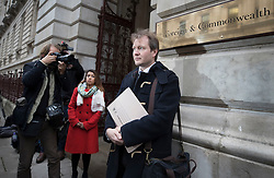 © Licensed to London News Pictures. 15/11/2017. London, UK. Richard Ratcliffe arrives at the Foreign Office to meet with Boris Johnson. Mr Ratcliffe's wife, Nazanin Zaghari-Ratcliffe, is currently serving a five-year prison sentence after being arrested at Tehran airport in April 2016 as she attempted to return home from a visit to see her family. Her sentence may be increased after Foreign Secretary Boris Johnson mistakenly said she was in Iran to train journalists. Photo credit: Peter Macdiarmid/LNP