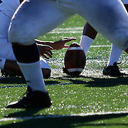 On Saturday, November 5, in Costa Mesa, Jonathan Aguilar (60) on Fullerton College kicks a field goal and gains the extra point for his team in Costa Mesa, CA. Fullerton won with the final score of 35 to 14.<br /> <br />  Photograph taken by ©Mikailin Rae Perry, Sports Shooter Academy