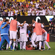 EAST RUTHERFORD, NEW JERSEY - JUNE 17:  The Colombian team celebrate their penalty shoot out win during the Colombia Vs Peru Quarterfinal match of the Copa America Centenario USA 2016 Tournament at MetLife Stadium on June 17, 2016 in East Rutherford, New Jersey. (Photo by Tim Clayton/Corbis via Getty Images)