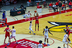 NORMAL, IL - February 27: Josiah Strong shoot for 3 over Bowen Born during a college basketball game between the ISU Redbirds and the Northern Iowa Panthers on February 27 2021 at Redbird Arena in Normal, IL. (Photo by Alan Look)