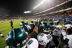 Philadelphia Eagles Linebackers come in for a huddle before the NFL game between the Philadelphia Eagles and the Chicago Bears on November 22nd 2009. The Eagles won 24-20 at Soldier Field in Chicago, Illinois. (Photo By Brian Garfinkel)
