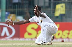 November 23, 2018 - Colombo, Sri Lanka - Sri Lankan cricketer Lakshan Sadakan appeals during the 1st day's play in the 3rd and final test cricket match between England and Sri Lanka at SSC international cricket stadium, Colombo, Sri Lanka. 11-23-2018  (Credit Image: © Tharaka Basnayaka/NurPhoto via ZUMA Press)