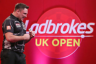 Gerwyn Price celebrates reaching the semi-final with a victory over Devon Petersen during the Ladbrokes UK Open Darts 2021 at stadium:mk, Milton Keynes, England. UK on 7 March 2021.