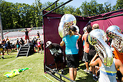 The Oregon Marching Band, collectively known as Shadow Armada, practices in Sutton's Bay, Michigan on July 12, 2012.