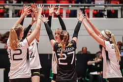 16.05.2019, Montreux, SUI, Montreux Volley Masters 2019, Deutschland vs Polen, im Bild Germany cheering after successful block: Hanna Orthmann (Germany #12), Marie Schoelzel (Germany #14), Elisa Lohmann (Germany #27), Louisa Lippmann (Germany #11), Nele Barber (Germany #7) // during the Montreux Volley Masters match between Germany and Poland in Montreux, Switzerland on 2019/05/16. EXPA Pictures © 2019, PhotoCredit: EXPA/ Eibner-Pressefoto/ beautiful sports/Schiller<br /> <br /> *****ATTENTION - OUT of GER*****