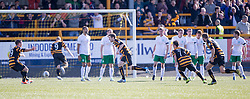 Alloa Athletic's Iain Flannigan cele scoring their second goal.<br /> Alloa Athletic 2 v 1 Hibernian, Scottish Championship game played 30/8/2014 at Alloa Athletic's home ground, Recreation Park, Alloa.