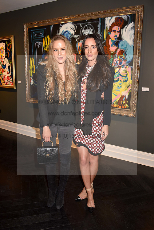 Left to right, Hum Fleming and Lily Fortescue at a private view of work by Bradley Theodore entitled 'The Second Coming' at the Maddox Gallery, 9 Maddox Street, London England. 19 April 2017.