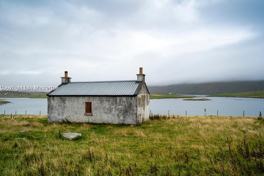 Old cottage at Papil, West Burra Island, Shetland, Scotland, UK